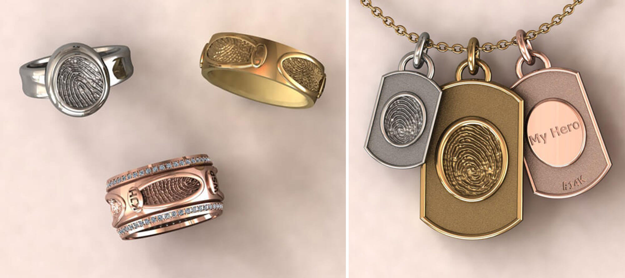 Grouping of custom fingerprint rings and fingerprint necklace charms