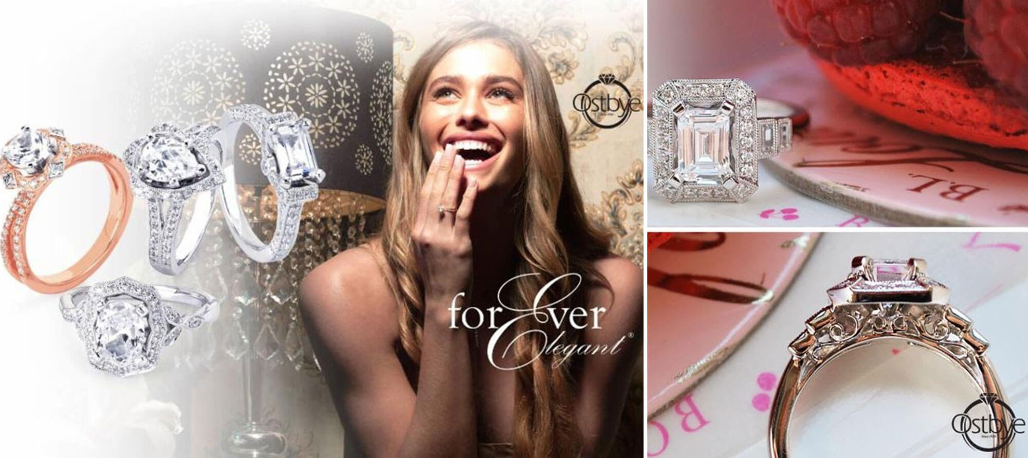 Collage of diamond engagement rings by Ostbye