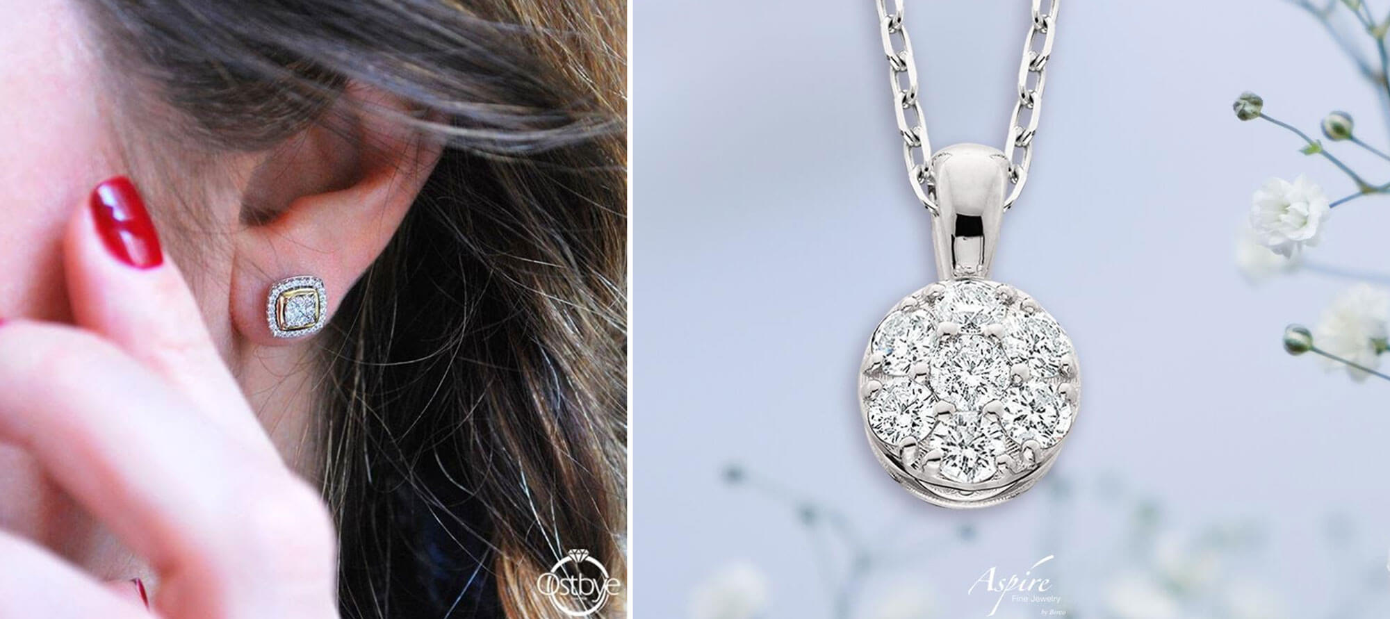 Diamond Erranings by Ostbye | Diamond necklace pendent by Aspire